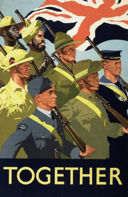 Propaganda poster promoting the joint war effort of the British Empire and Commonwealth, 1939. Together Art.IWMPST3158.jpg