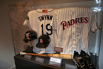 Gwynn's exhibit at the National Baseball Hall of Fame and Museum. Tony Gwynn Hall of Fame exhibit.jpg