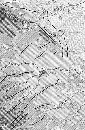 Battle of Messines (1914) - Image: Topography of the Arras Lens area showing ridge lines