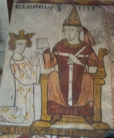 El papa Clemente IV y el rey Carlos I de Sicilia en un fresco medieval de Tour Ferraude