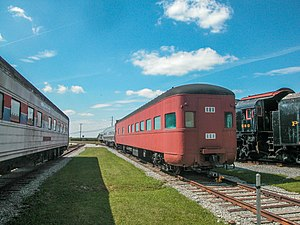 Red railcar viewed end-on