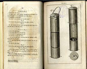 Geordie lamp - Image: Tracts vol 19 p 32 33 George Stephenson's safety lamp