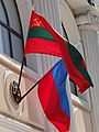 Transnistrian and Russian Flags on Facade - Tiraspol - Transnistria (36008034753).jpg