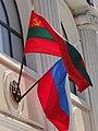 Transnistrian and Russian Flags on Facade - Tiraspol - Transnistria (36008034753).jpg