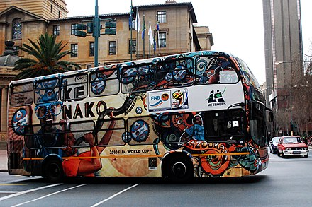 Bus transporting supporters during 2010 FIFA World Cup Transport des supporters a Durban.jpg