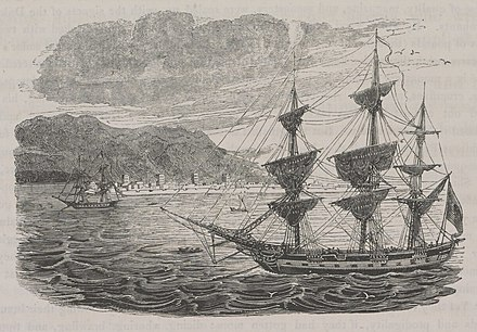 'Ras-el-Khyma, the chief port of the Wahabee pirates' (1829) by James Silk Buckingham. Travels in Assyria Ras Al Khaimah (cropped).jpg