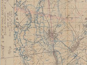 Battle of St Quentin Canal - Detail of a British trench map of Bellicourt. The canal tunnel is coloured red. The Hindenburg Line runs west of the tunnel and east of the canal cutting.