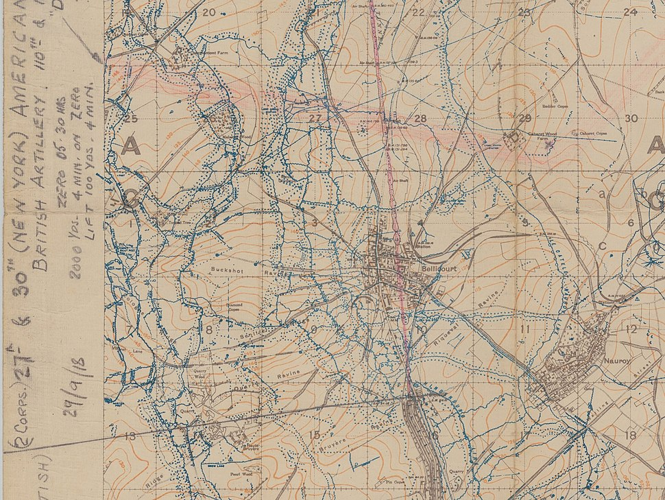 Trench Map 62b.NW (Bellicourt) (detail)