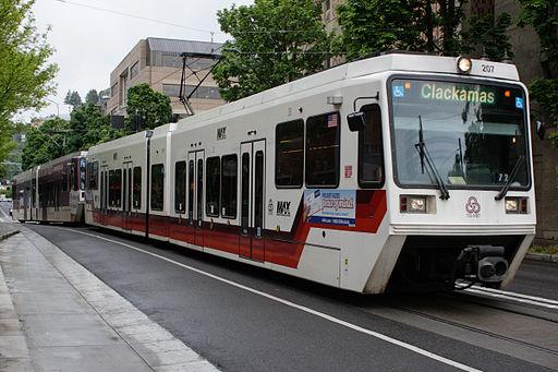 TriMet MAX Green Line Train on Portland Transit Mall