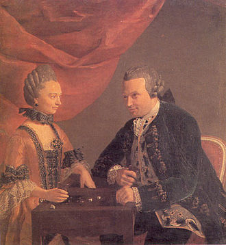 Shut the Box - Trictrac players, a painting attributed to Léonard Defrance