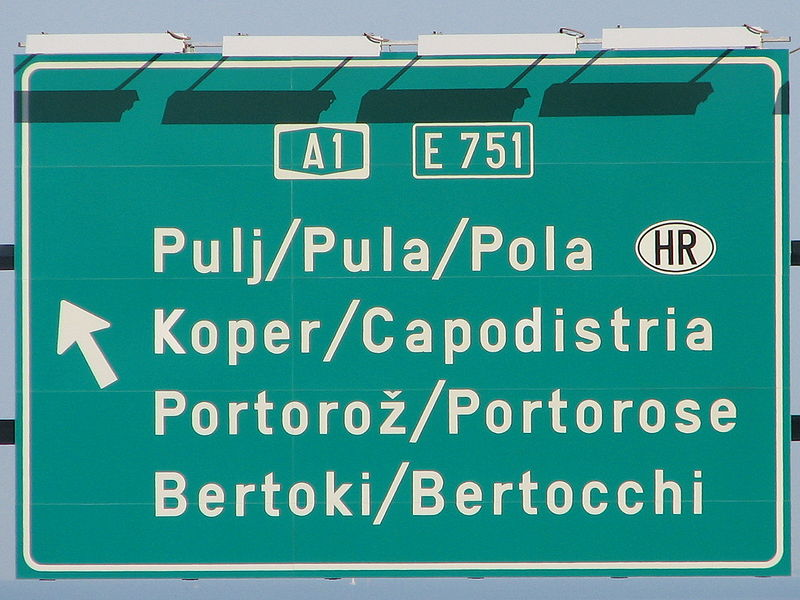 File:Trilingual traffic sign on A1 near Koper.jpg