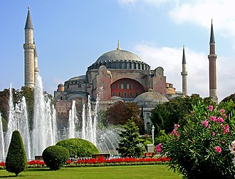 Turkey - Originally a church, later a mosque, and now a museum, the Hagia Sophia in Istanbul was built by the Byzantine emperor Justinian I in 532–537 AD.