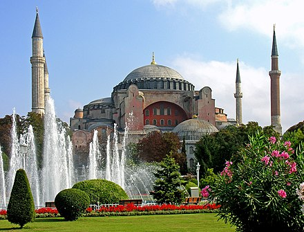 The Hagia Sophia in Istanbul, Turkey, was converted into a mosque after the Ottoman conquest of Constantinople in 1453
