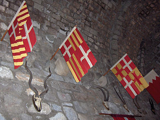Flags of Knights Hospitaller in Saint Peter's Castle, Bodrum, Turkey. Left to right: Fabrizio Carretto (1513-1514); Amaury d'Amboise (1503-1512); Pierre d'Aubusson (1476-1503); Jacques de Milly (1454-1451). Turkey.Bodrum082.jpg
