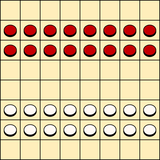 Board and starting position in Turkish draughts and Armenian draughts