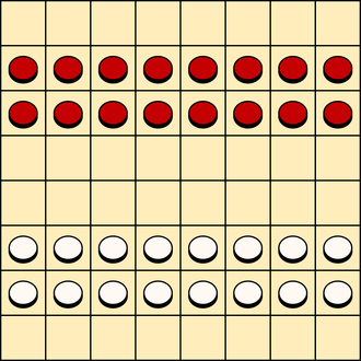 Turkish draughts - Turkish draughts board and starting setup. White moves first.