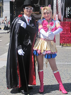 Tuxedo Mask & Sailor Moon cosplayers at 2010 NCCBF 2010-04-18 2.JPG