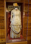 Two-tone linen bustle dress and straw hat, c. 1880 - Kennedy Space Center - Cape Canaveral, Florida - DSC02545.jpg
