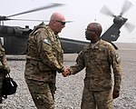 U.S. Army Lt. Col. Kevin Admiral, right, with the 1st Battalion, 36th Infantry Regiment, welcomes the Chief of Staff of the U.S. Army Gen. Raymond T. Odierno to Kandahar Airfield in Kandahar province 130807-A-VM825-008.jpg