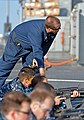 U.S. Navy Gunner's Mate 1st Class Harry Kindt, assigned to the amphibious command ship USS Mount Whitney (LCC 20), instructs Sailors during marksmanship training in the Mediterranean Sea May 23, 2013 130523-N-PE825-020.jpg