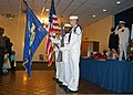 U.S. Sailors, with a color guard unit, present flags during the retirement of Chief Machinist's Mate Roderick Williams at Barksdale Air Force Base, La., Aug. 11, 2012 120811-N-YU482-001.jpg