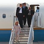 U.S. Secretary of State Hillary Rodham Clinton departs a U.S. Air Force Boeing 747 aircraft on Marine Corps Air Station (MCAS) Miramar, Calif., Aug 30, 2012 120830-M-GC438-024 (cropped).jpg