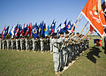U.S. Soldiers, of U.S. Army Signal Center, and Fort Gordon participate in the formation of colors, during the opening ceremony of the Signal Center commanding general change of command ceremony, on Fort Gordon 100721-A-NF756-011.jpg