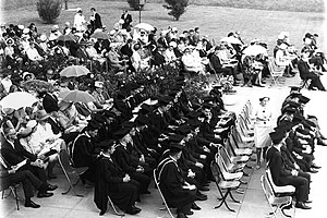 University of Wollongong - The graduation ceremony (held in 1966) was held out of doors, a feature of the open-air ceremony of the 1960s.