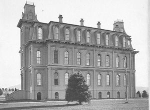 Campus of the University of Oregon - A view of Deady Hall soon after construction. Image courtesy of the Oregon State Library.