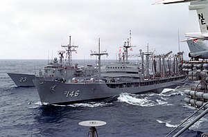 USNS Kawishiwi (T-AO-146) refueling USS Puller (FFG-23) 1983.JPEG
