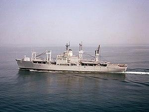 USS Charleston (LKA-113) - Image: USS Charleston (LKA 113) underway 1987
