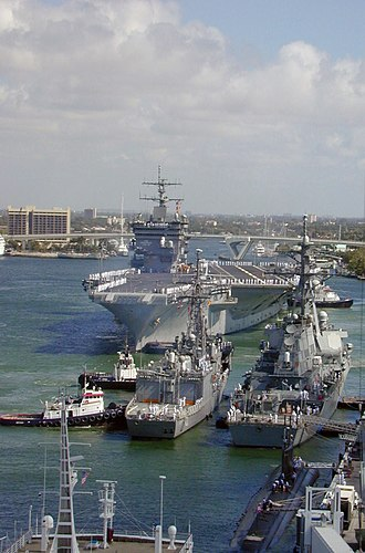 Port Everglades - USS Enterprise (CVN 65) prepares to moor at Port Everglades