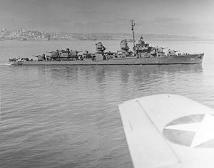 USS Hoel (DD-533) underway in San Francisco Bay, California (USA), 7 August 1943 (80-G-65436).jpg