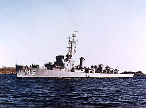 USS Huse (DE-145) underway, circa the 1950s (NH 82337-KN)