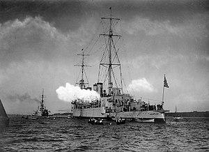 USS Memphis (CL-13) at Kiel, Germany, in September 1926 (NH 99623)