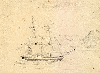 East India Squadron - A sketch of USS Peacock during the Wilkes Expedition in 1838.
