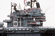 USS Ranger (CV-61) crew mans the rails following Desert Storm closeup on island