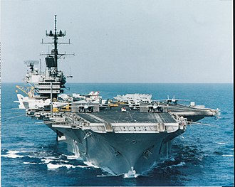 Aircraft catapult - USS Saratoga underway on 15 September 1985. The bridle catchers are the extensions at the end of the forward catapults