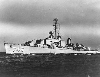 USS Taussig - Taussig underway during the late 1940s or early 1950s.