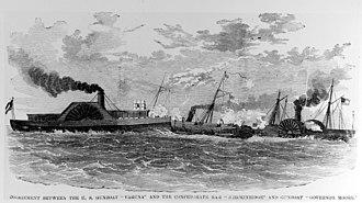 USS Varuna (1861) - USS Varuna in battle with Confederate warships.