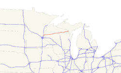 Karte des U.S. Highways 8