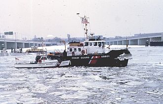 Air Florida Flight 90 - The Coast Guard tugboat Capstan was too far away on another search-and-rescue mission downriver to assist the six initial survivors of Air Florida Flight 90 after it crashed into the 14th Street Bridge and then the ice-choked Potomac River on January 13, 1982. The Capstan is seen here with another smaller Coast Guard boat helping with recovery of bodies and salvage operations.