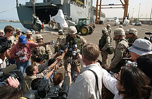 Raymond T. Odierno - Maj. Gen. Odierno addressing the international media as commander of the 4th Infantry Division (4th ID) in Kuwait, April 2003.