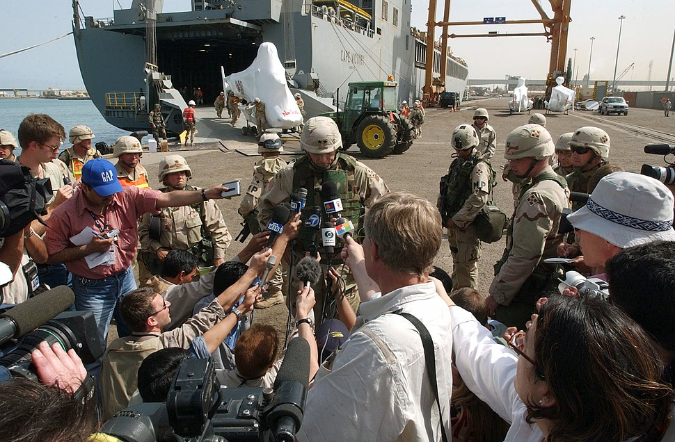 US Navy 030403-N-5362A-009 Major General Raymond T. Odierno from the 4th Infantry Division speaks to the international media during the arrival of armor and equipment to a port of Shuaiba, Kuwait