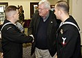 US Navy 041219-N-5821W-005 Speaker of the House, J. Dennis Hastert (R-Ill.), greets a Sailor assigned to Naval Air Station Sigonella after the completion of a round table discussion.jpg