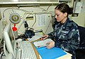 US Navy 050216-N-6240R-083 Yeoman 2nd Class Krystle Pond works with administrative paperwork in the Operations Division office aboard the amphibious assault ship USS Iwo Jima (LHD 7).jpg