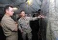US Navy 050910-N-8933S-020 Chief of Naval Operations Adm. Mike Mullen, left, is briefed by Lt. Cmdr. Scott Sanders on Hurricane Katrina relief efforts in Biloxi, Miss.jpg