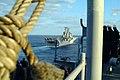 US Navy 060205-N-4772B-065 The amphibious dock landing ship USS Harpers Ferry (LSD 49) makes her approach to the amphibious assault ship USS Essex (LHD 2) for a scheduled underway replenishment (UNREP).jpg