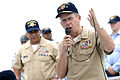 US Navy 070507-N-0696M-418 Chief of Naval Operations (CNO) Adm. Mike Mullen answers questions from the Sailors of guided missile destroyer USS Russell (DDG 59) during an all hands call on the fantail.jpg