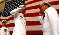 US Navy 070628-N-7653W-161 Cmdr. Kenneth W. Caraveo and Cmdr. Scott Gray exchange salutes during the Carrier Airborne Early Warning Squadron (VAW) 124 change command ceremony.jpg